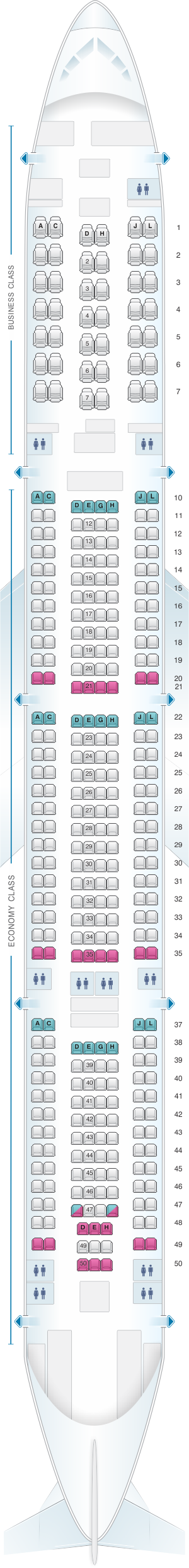 Seat map for Iberia Airbus A340 600