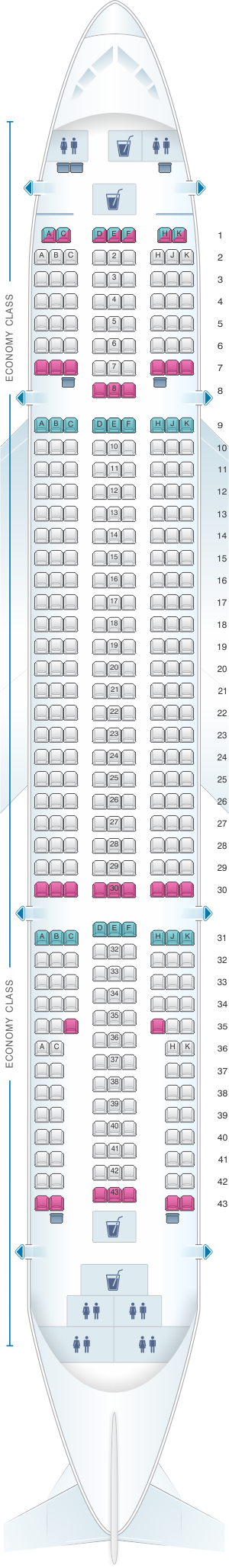Seat map for Monarch Airlines Airbus A300 600