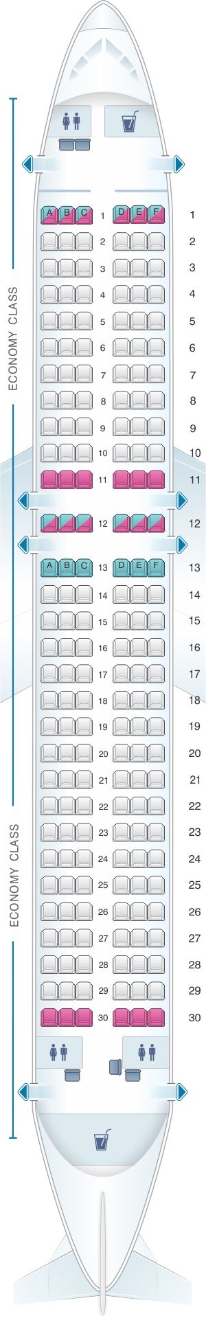 Seat map for Monarch Airlines Airbus A320 200