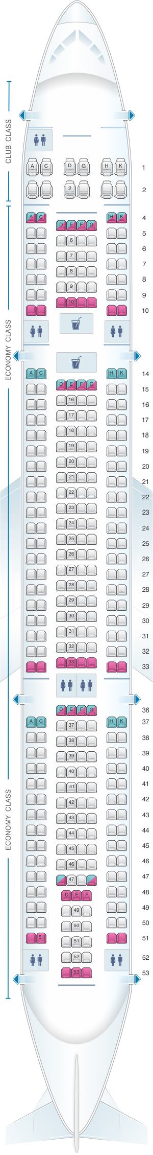 Seat map for Air Transat Airbus A330 300 346pax