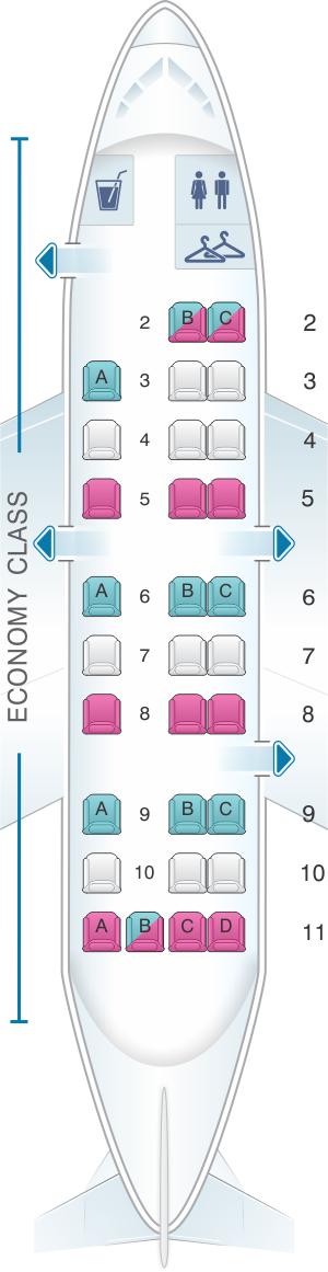 Seat map for United Airlines Embraer EMB 120 (EM2) - version 2