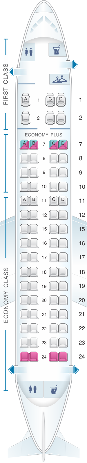 Seat map for United Airlines Embraer EMB 170 (E70)