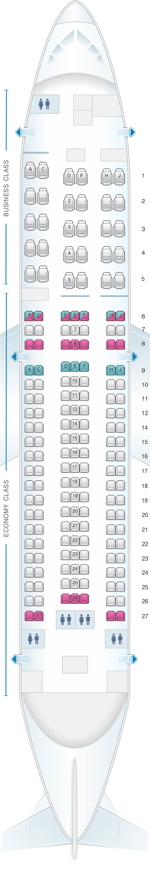 Seat map for Aeromexico Boeing B767 200ER