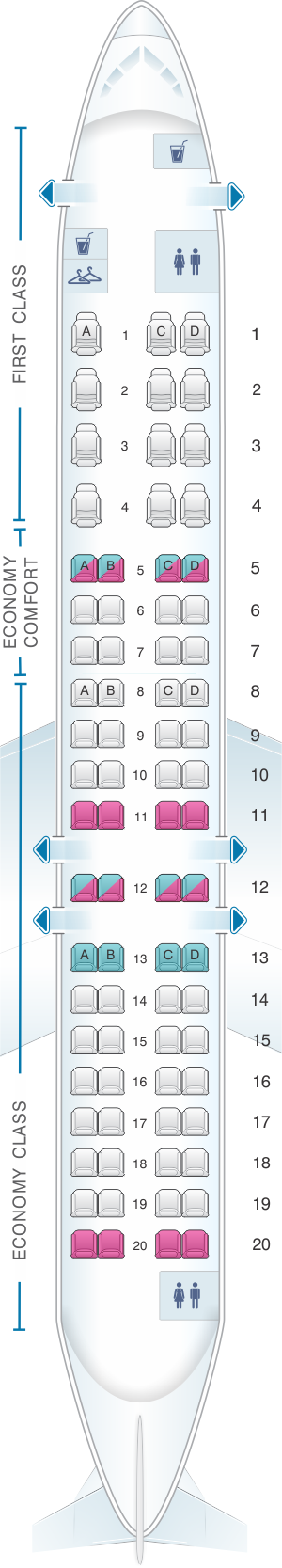 Seat map for Delta Airlines Bombardier Canadair Regional Jet CRJ 900