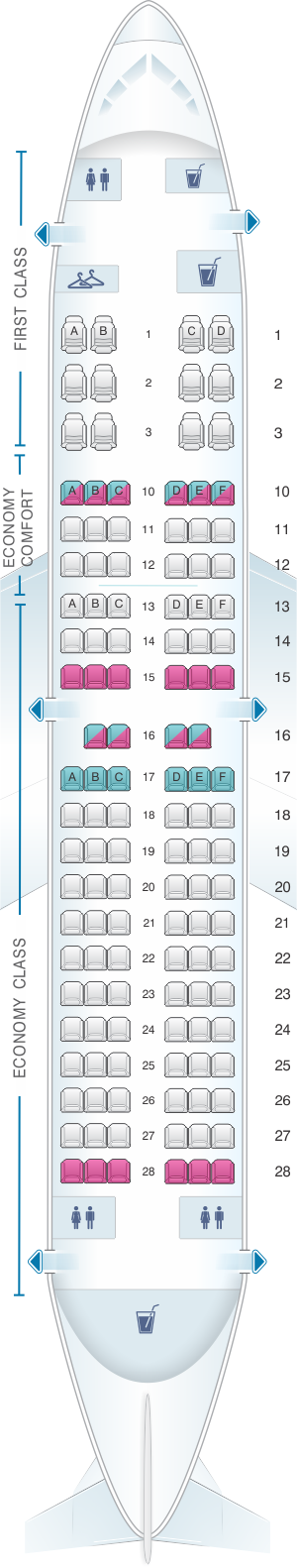 Seat map for Delta Air Lines Boeing B737 700 (73W)