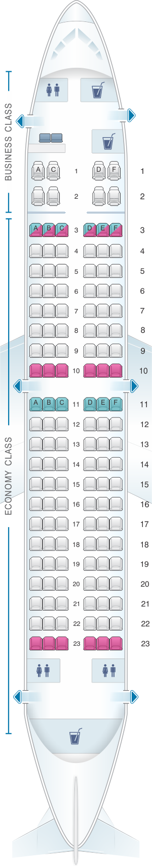 Seat map for TAROM Boeing B737 300 134pax