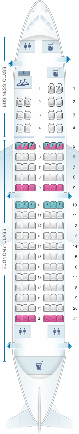 Seat map for TAROM Boeing B737 700 116pax