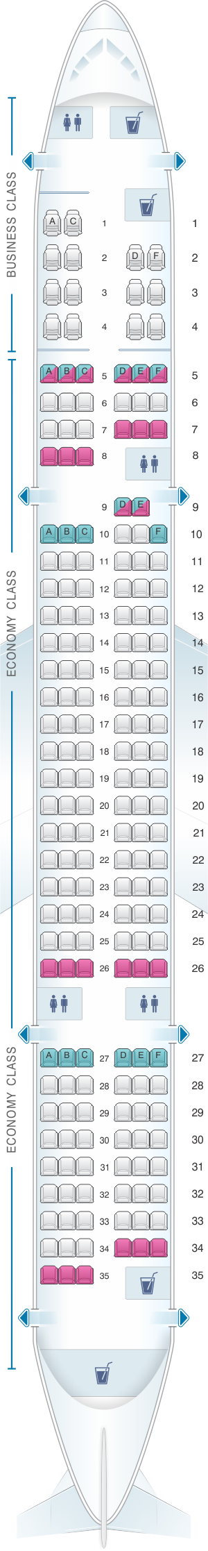 Seat map for US Airways Boeing B757 200 190pax