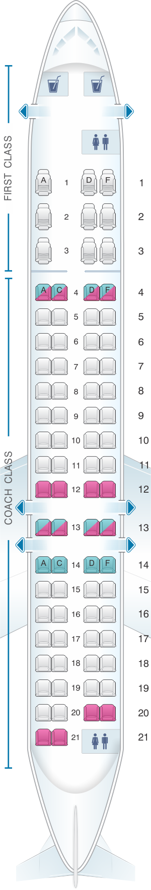 Seat map for US Airways Bombardier Canadair CRJ 900 79pax
