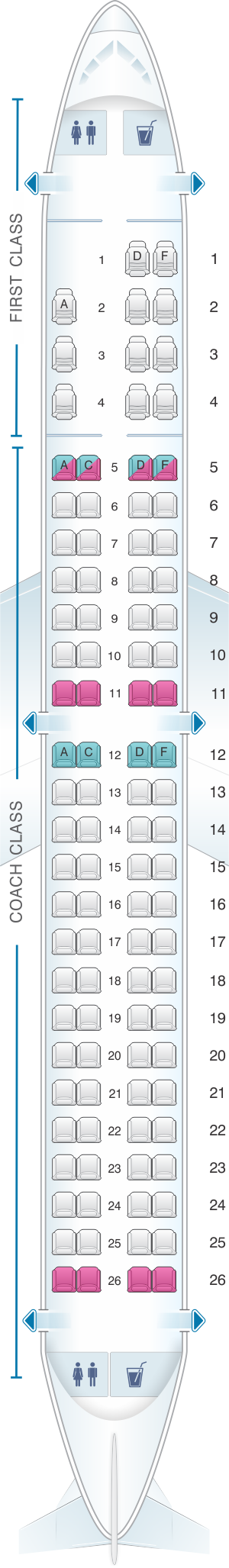 Seat map for US Airways Embraer 190