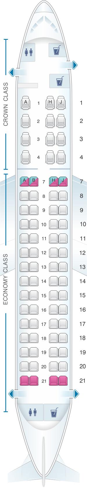 Seat map for Royal Jordanian Embarer EMB 175