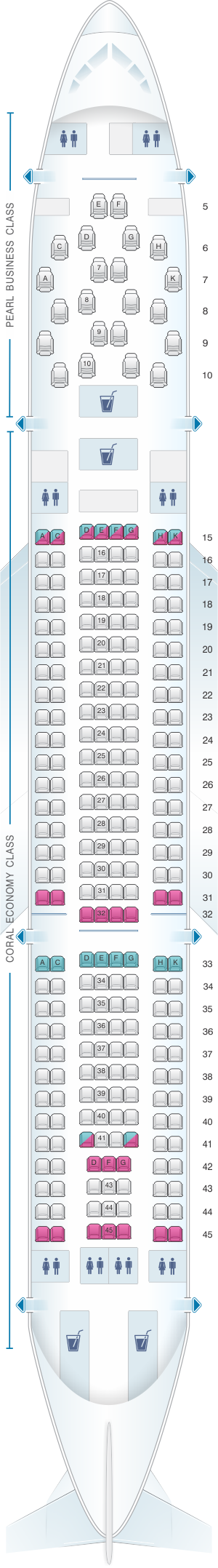 Seat map for Etihad Airways Airbus A330 200