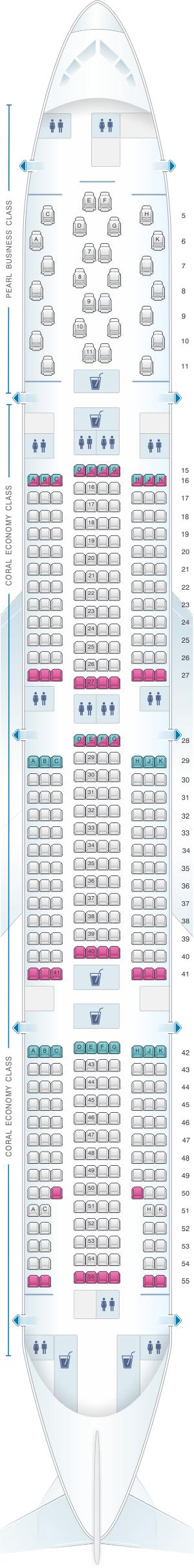 Seat map for Etihad Airways Boeing B777 300ER 2 class V1