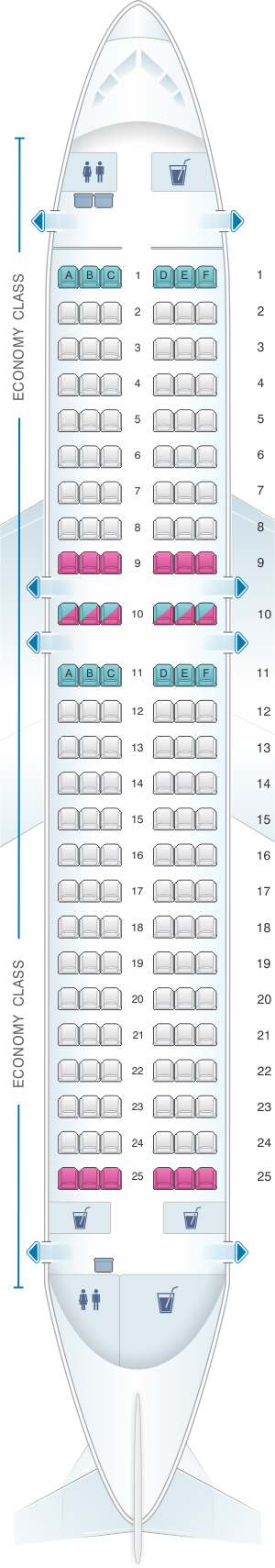 Seat map for airberlin Airbus A319 112
