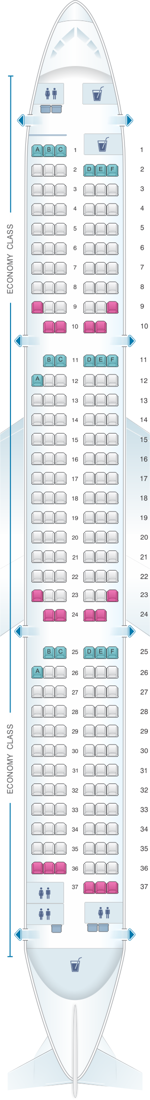 Seat map for airberlin Airbus A321 200