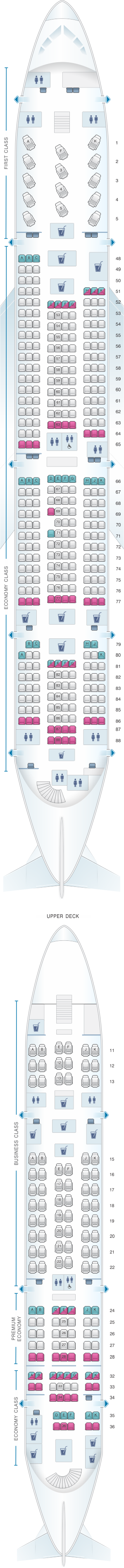 Seat map for Qantas Airways Airbus A380 800