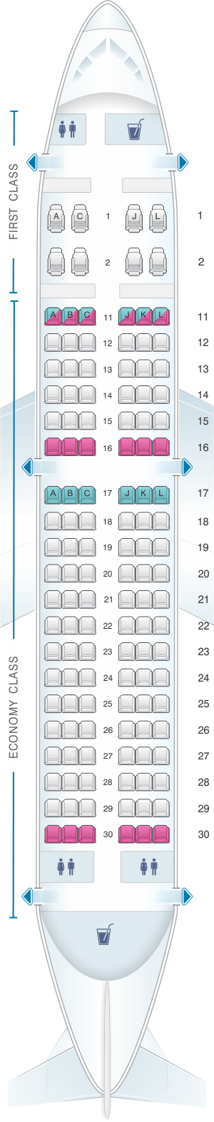 Seat map for Air China Airbus A319 100