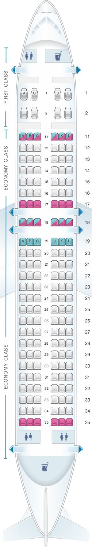 Seat map for Air China Airbus A320 200
