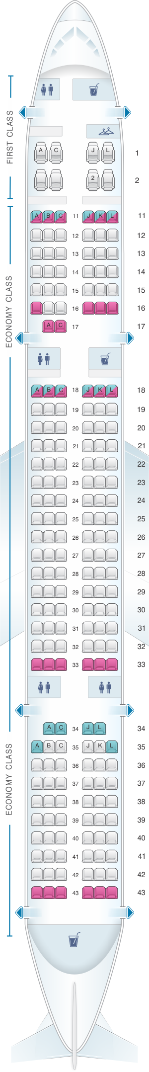 Seat map for Air China Boeing B757 200
