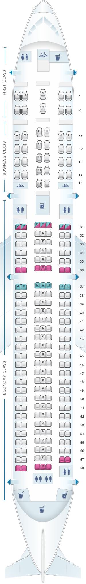 Seat map for Air China Boeing B767 300