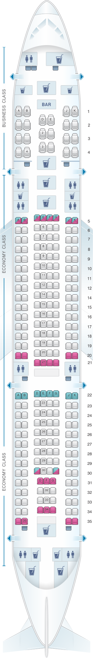 Seat map for Turkish Airlines Airbus A330 200