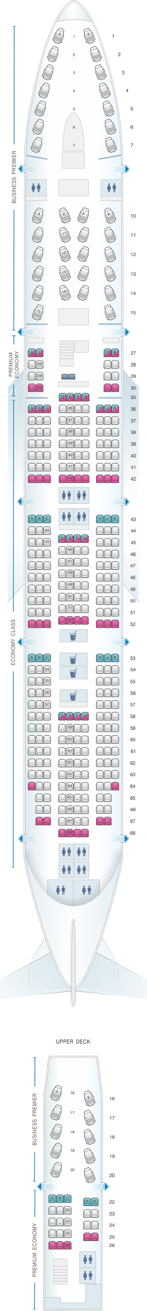 Seat map for Air New Zealand Boeing B747 400