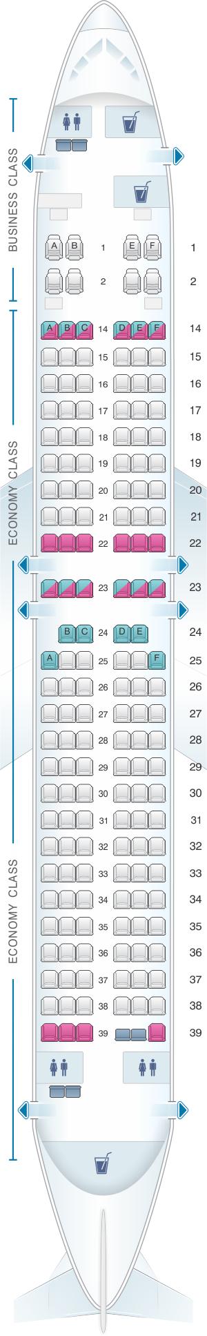 Seat map for Fiji Airways Boeing B737 800 164pax