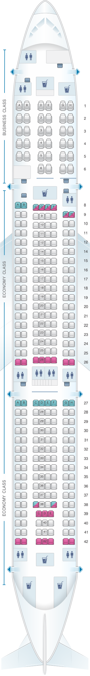 Seat map for Air Mauritius Airbus A340 300E