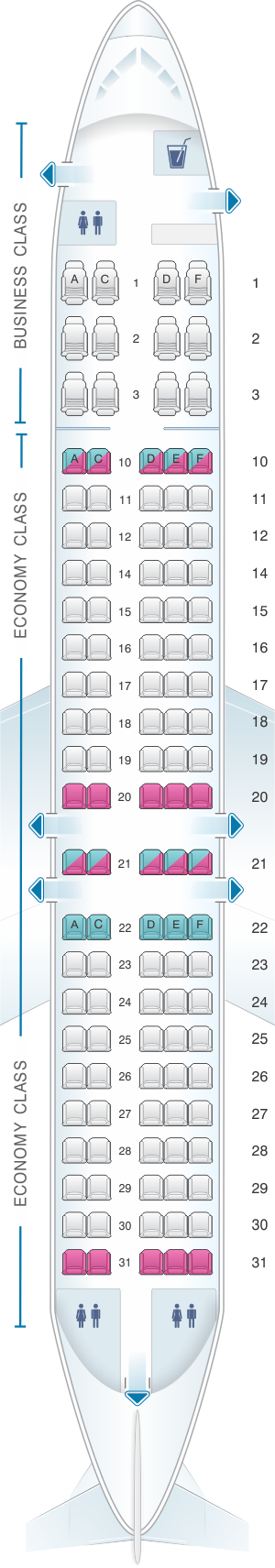 Seat map for Airtran Airways Boeing B717