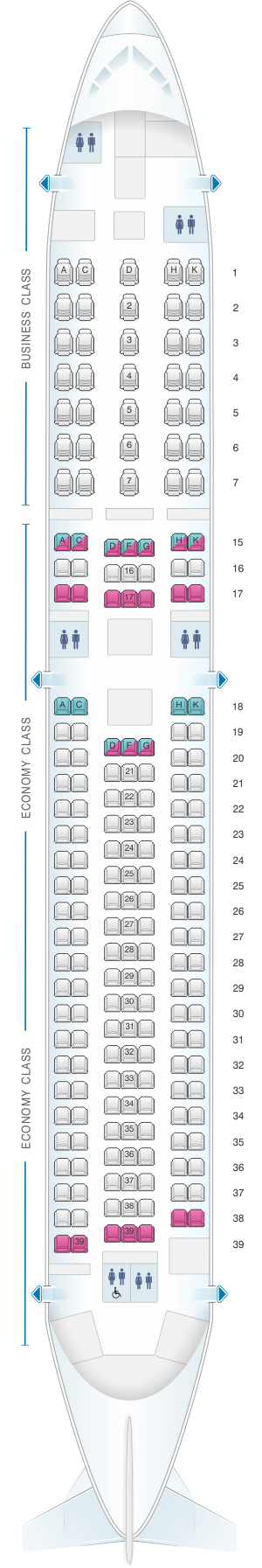 Seat map for ANA - All Nippon Airways Boeing B767 300ER 202pax