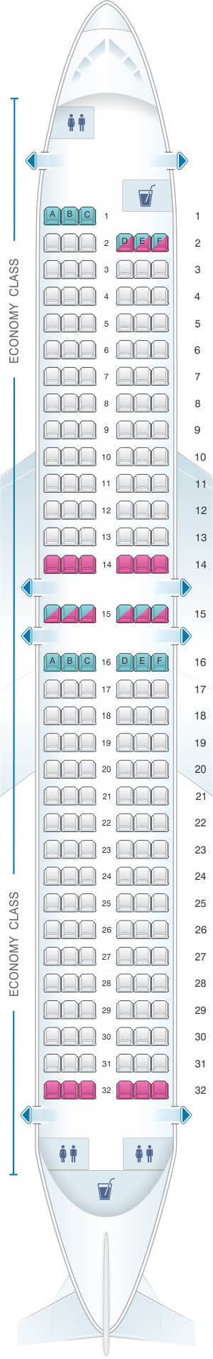 Seat map for Canjet Airlines Boeing B737 800