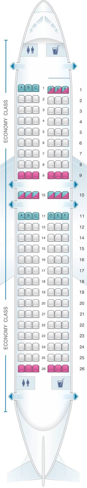 Seat map for Cebu Pacific Air Airbus A319