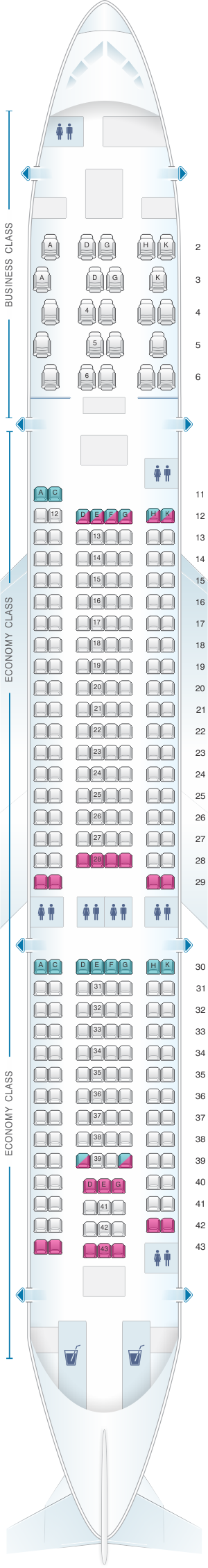 Seat map for Aer Lingus Airbus A330 200 Config. 1