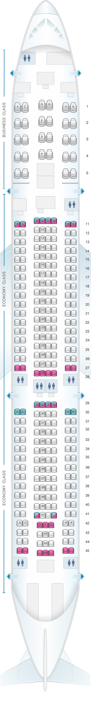 Seat map for Aeroflot Russian Airlines Airbus A330 300 Config.2