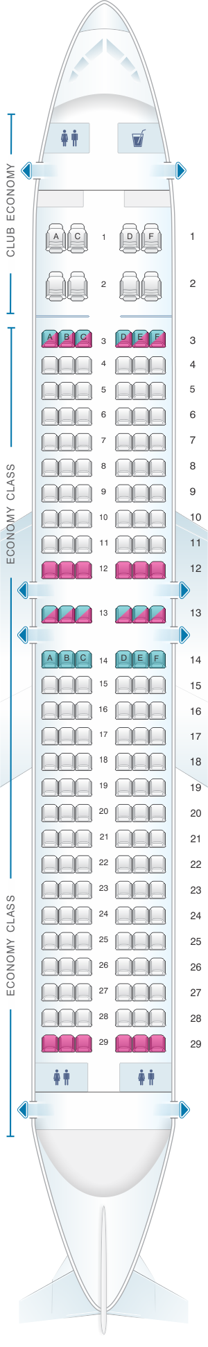 Seat map for Aerolineas Argentinas Boeing B737 800