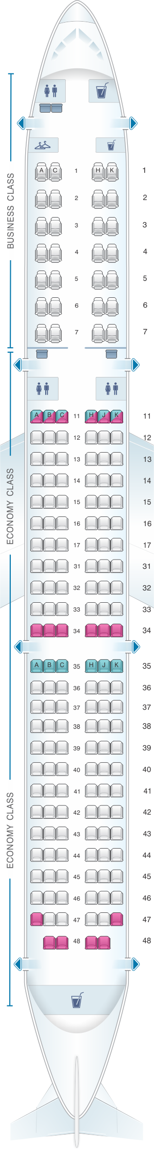 Seat map for Air Astana Airbus A321 231 Config.1