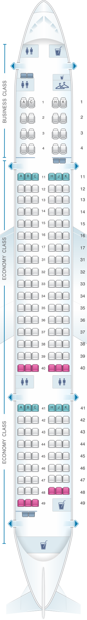 Seat map for Air Astana Boeing B757 200
