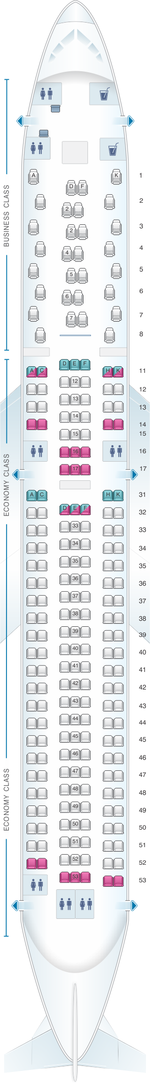 Seat map for Air Astana Boeing B767 300 ER