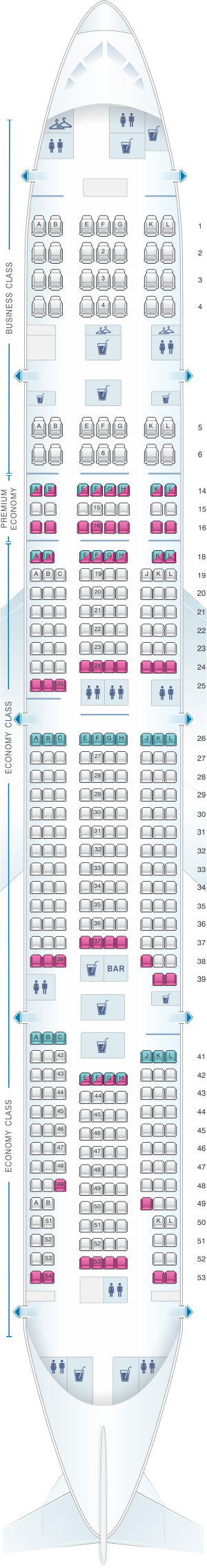 Seat map for Air France Boeing B777 300 Long-Haul International 381PAX