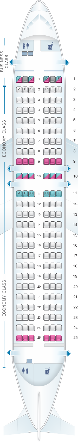 Seat map for airberlin Airbus A319 100