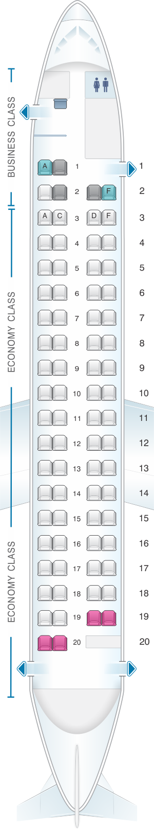 Seat map for airberlin Bombardier Q400