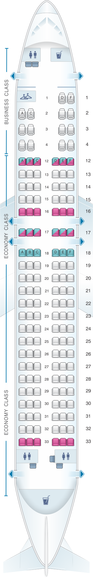 Seat map for Air Canada Airbus A320 200