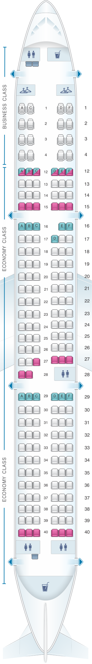 Seat map for Air Canada Airbus A321 200 Layout 1
