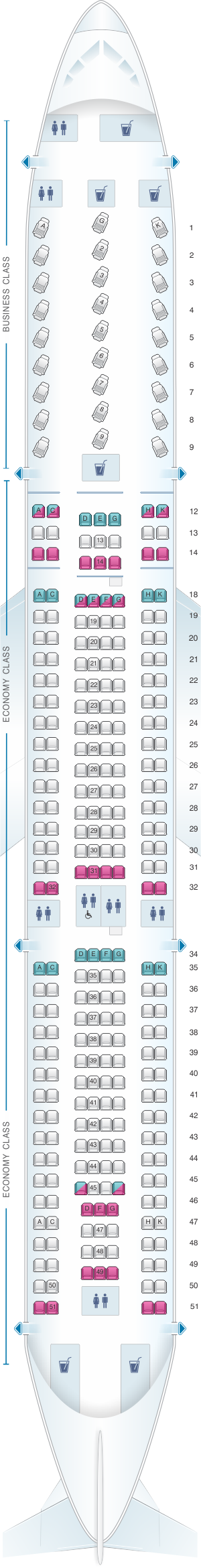Seat map for Air Canada Airbus A330 300 North America