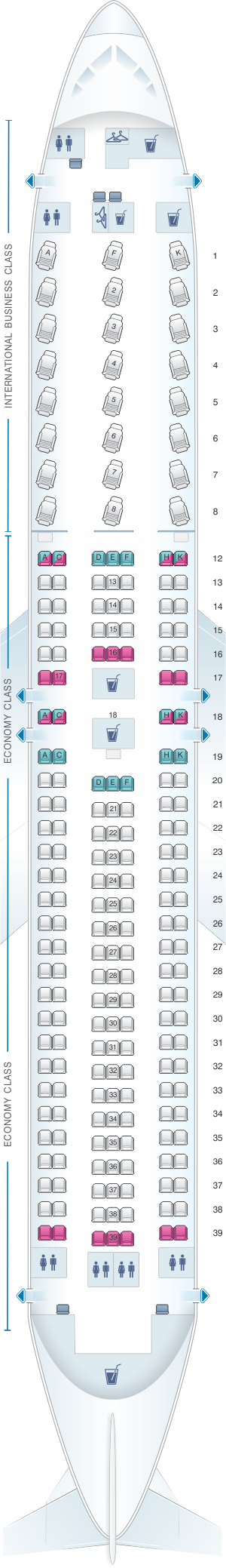 Seat map for Air Canada Boeing B767 300ER (763)