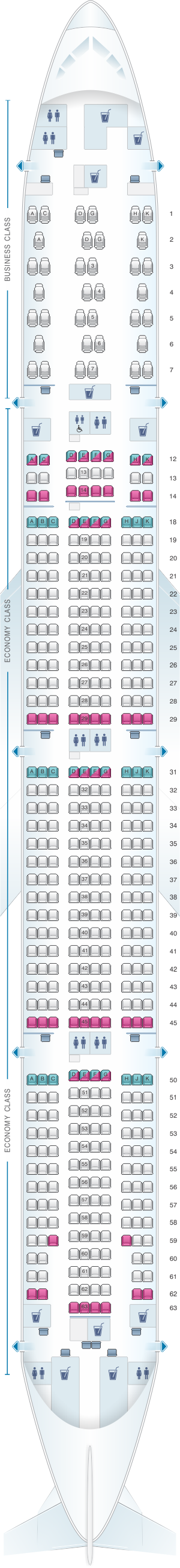 Seat map for Air Canada Boeing B777 300ER (77W) North America Layout 2