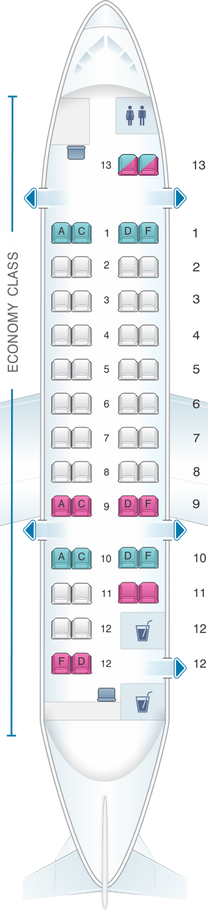 Seat map for Air Canada Bombardier Dash 8-300