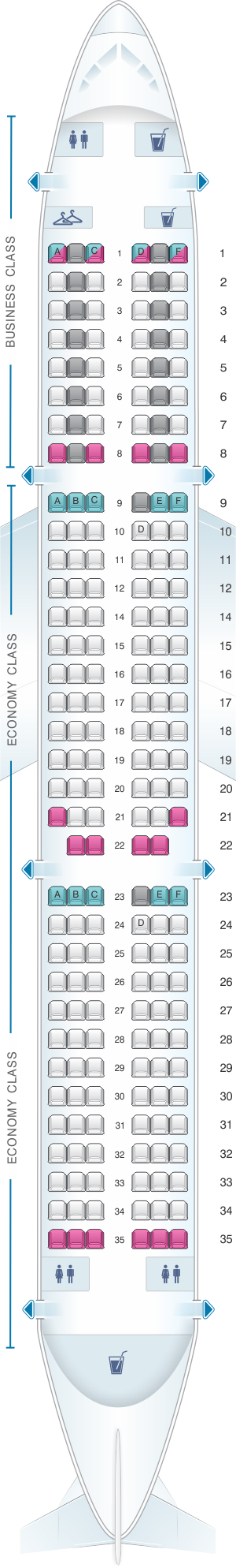 Seat map for Air France Airbus A321 Europe V1