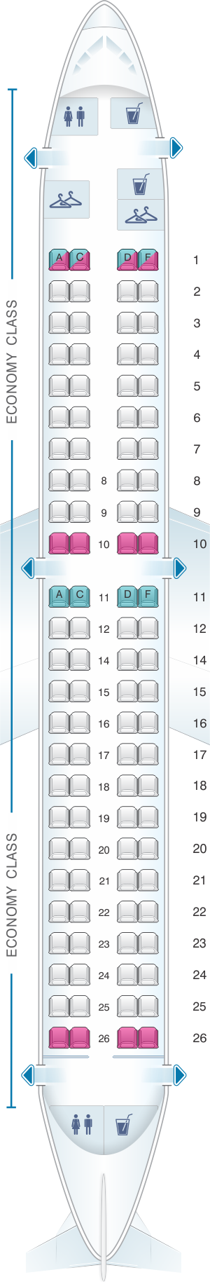 Seat map for Air France Embraer 190