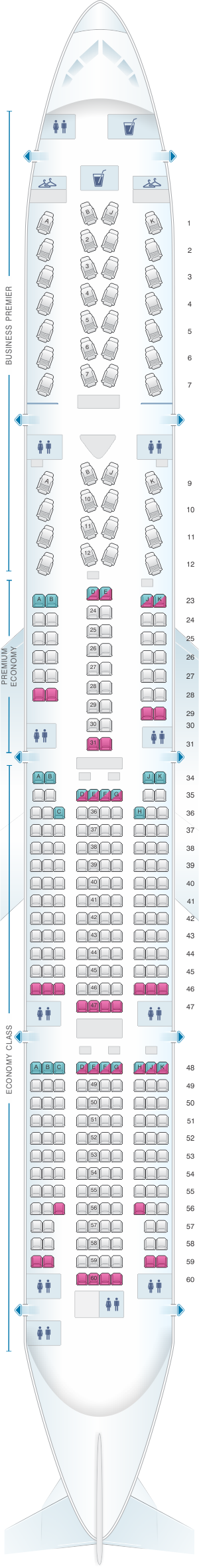 Seat map for Air New Zealand Boeing B777 300